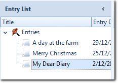 Diary Entry List