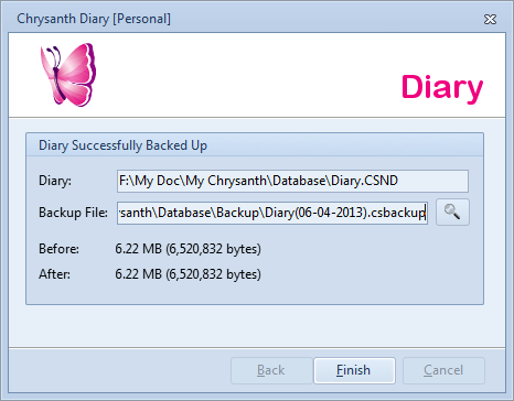 Diary Backup is Successfully Completed