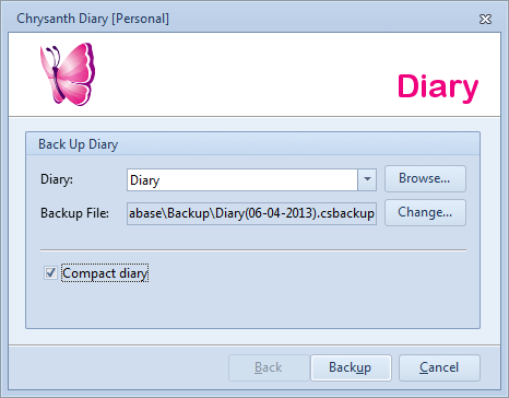 Diary Backup Options