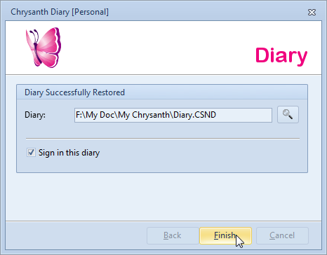 Diary Restoration is Successfully Completed