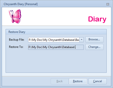 Diary Restoration Options